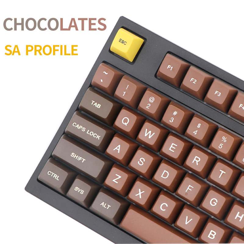 PBT Keycap Mechanical Keyboard Chocolate-Sa-Profile Cherry Wired R2 for USB R3-Etched-Laser