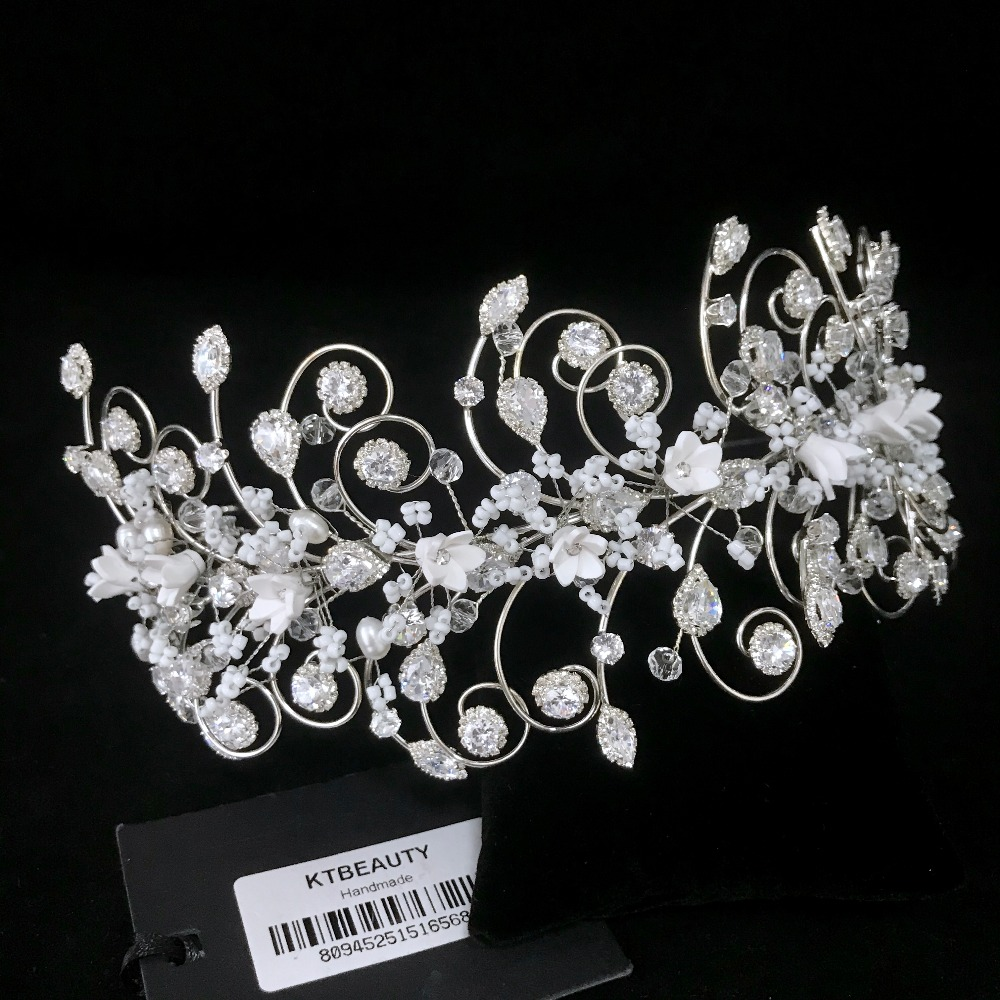 Rhinestone Custom Made Zircon Pearl Flowers Tiara Handmade Hairband Royal Bridal Wedding Dressing Crown Accessory Women Jewelry