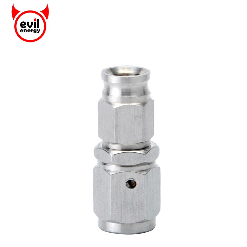evil energy AN3 Hose to M10x1.0 Stainless Steel Straight Brake Swivel Telfon Hose Ends Female Fitting Adapter Silver