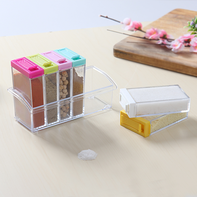HS040 6pcs/set Kitchen Tools Salt Condiment Cruet Storage box Acrylic transparent Spice Jar Colorful Lid Seasoning box
