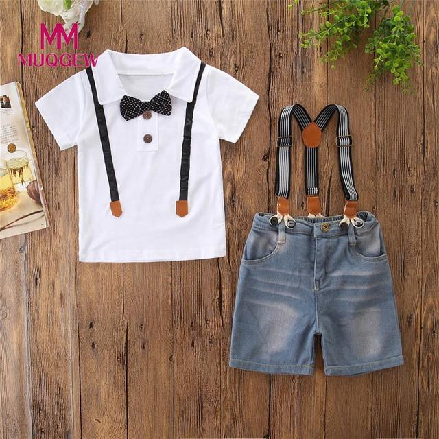 7048fd3f94a MUQGEW Baby Boy Gentleman Clothes Set Summer Suit For Toddler Kid Formal  Party Kids Boys Boy Bow T Shirts Clothing Set  PY