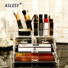 Transparent Acrylic Makeup Organizer Storage Boxes Make Up Casket for Cosmetics Brush Jewelry Drawers Box Cosmetic Container