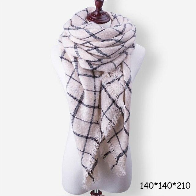 Evrfelan New Winter Scarf Fashion Women Scarf Luxury Plaid Cashmere Scarves Women Triangle Bandage Bufanda Wholesale 140*140*210