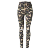 Womens Camo Jeans with Hole Skinny Camouflage Jeans Woman High Waist Denim Trouser for Girl Push Up Stretch Denim Pencil Pants