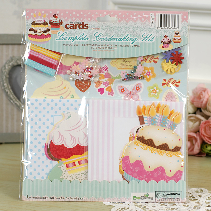 ENO Greeting Heart Birthday Complete Cardmaking Kit 10 Cards And Envelopes Cake Kids Card In Invitations From Home Garden