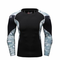 New Style Men Base Layer Camouflage Sleeve T Shirt Fitness Tights Quick Dry T Shirts Crossfit