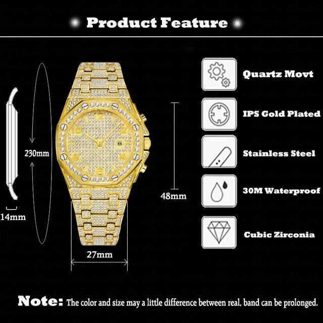 Relógios masculinos marca de topo relógio de luxo masculino tendência único ff árabe diamante relógio 18k ouro quartzo gelo para fora relógio cronógrafo 2