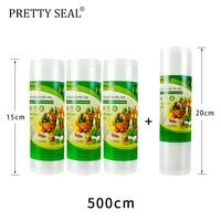 PRETTYSEAL vacuum bags for food Vacuum Sealer Food Fresh Long Keeping 3rolls15*500cm+20*5m 5 Rolls/Lot bags Мяшок для вакууму