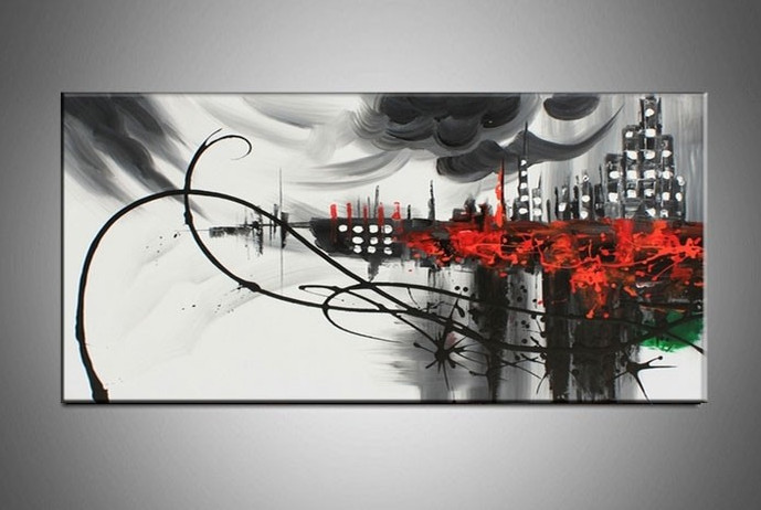 Hand painted large canvas wall art black white abstract for Black and white dining room wall art