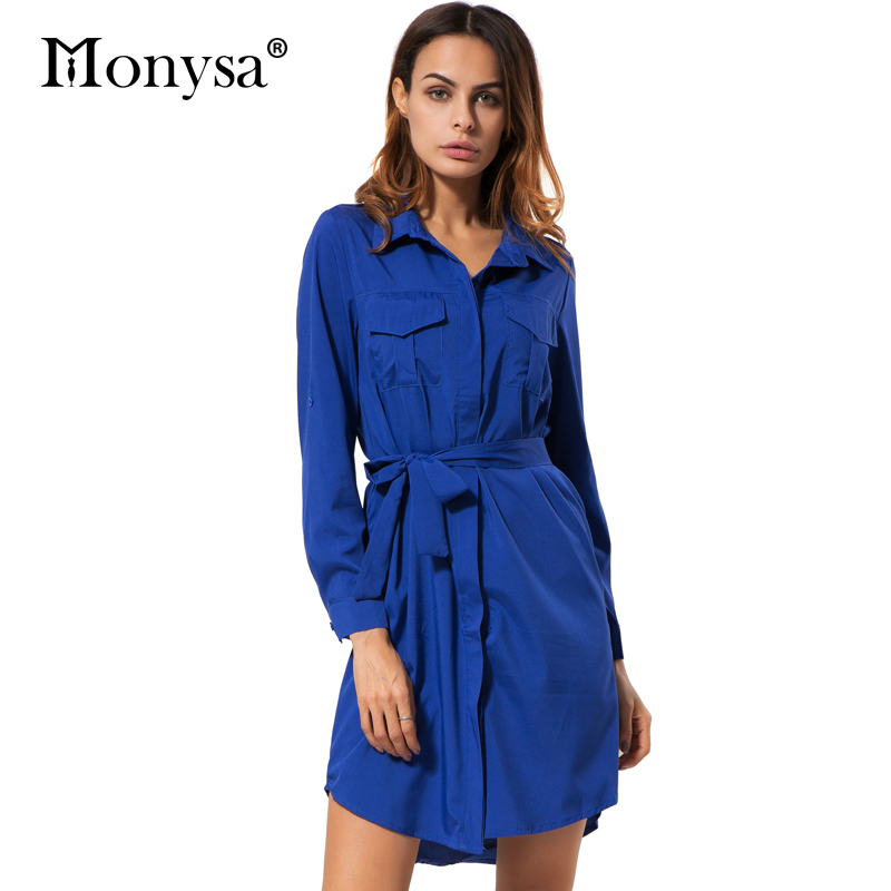 Blue long sleeve dress women autumn clothing 2017 new Women s long sleeve shirt dress