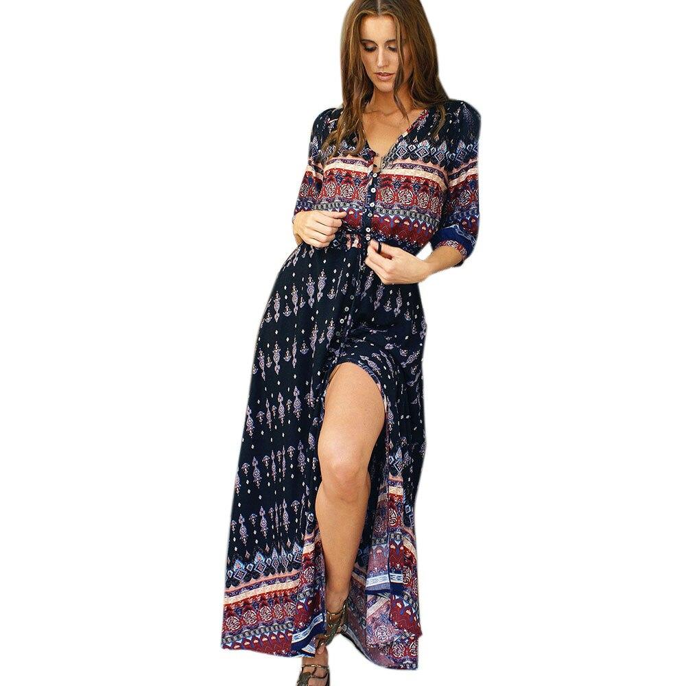 Jaycosin clothes Women Summer dresses Bohemian Tunic Floral Party Beach Long Maxi Loose Dress Sundress