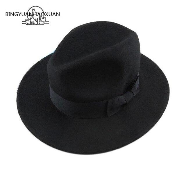 2016 Nouveau Style Doux Femmes Vintage Large Bord Feutre De Laine Bowler Hat fedora Floppy cloche Femmes de Panama Soleil Chapeau Trilby