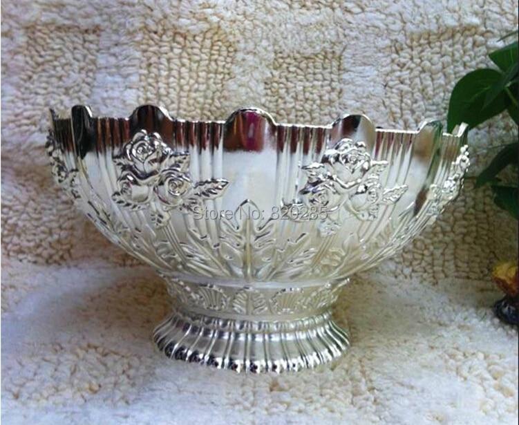 Bulk Whole Handmade Oval Shaped Silver Color Decorative Fruit Tray Plate Shallow Bowl
