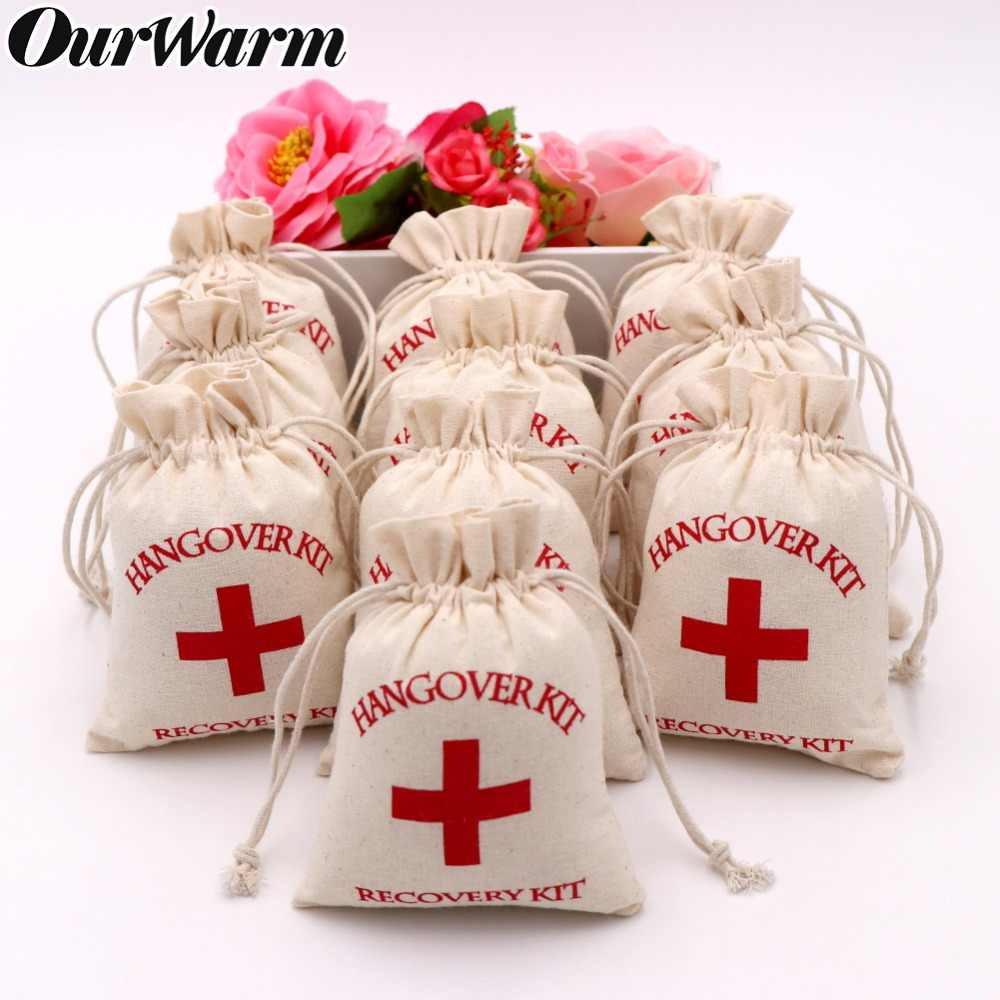 cefaf471835f OurWarm 100pcs 10*14cm Cotton Wedding Hangover Kit Bags for Hen Parties  Hangover Recovery Kit Party Favor Gift Bags