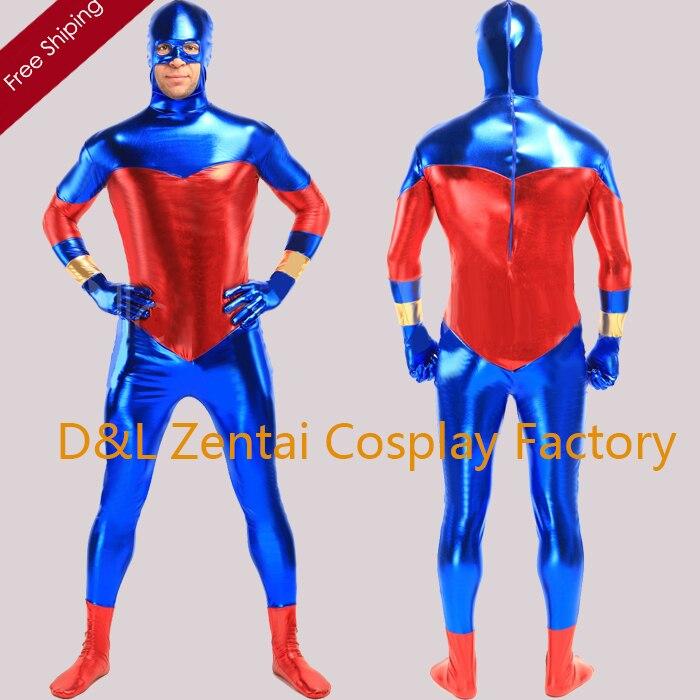 Livraison Gratuite DHL Adulte Full Body Bleu Et Rouge Brillant Métallique  Unisexe Zentai Suit SMSC501 06ec66be705