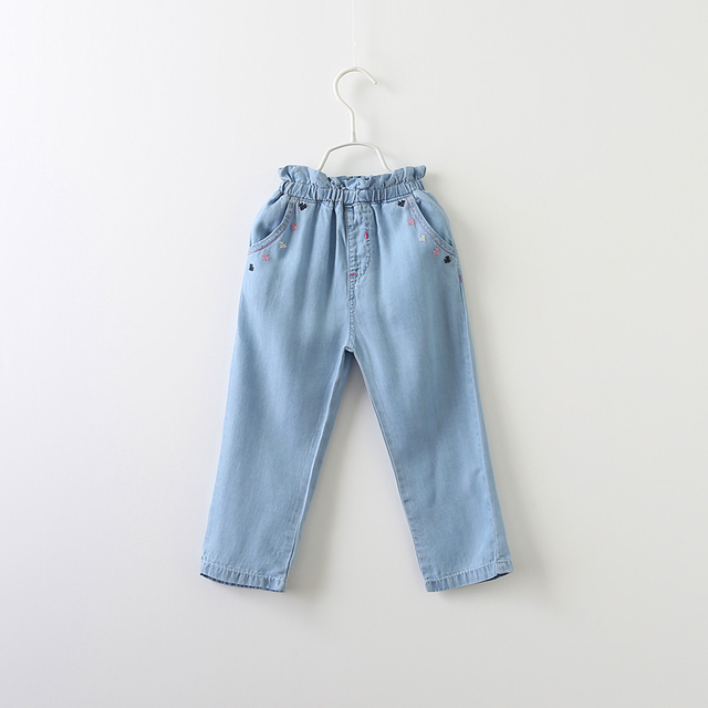 Spring Autumn Ruched Brand Trousers Children Denim Pants Baby Girls Jeans Embroidery Heart Print Clothes Kids Clothing 5pcs/LOT