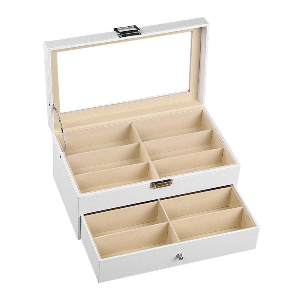 12 grilles boîte de rangement à lunettes Double couche organiseurs de maquillage portables