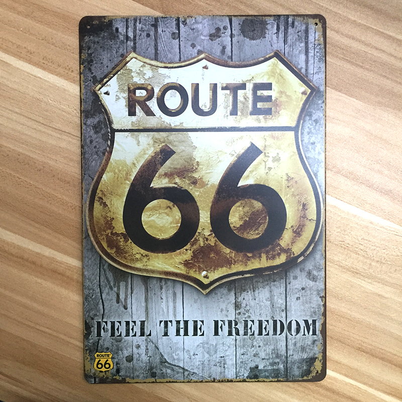 Metal tin signs retro poster route 66 vintage decor for Plaque murale decorative metal