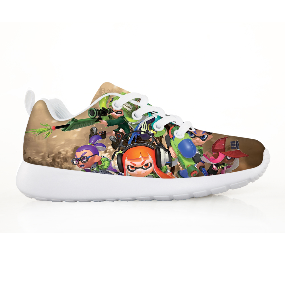 Fashion Children's Shoes Sneakers for Children Boys Girl 3D Splatoon 2 Pattern Kids Casual Flats Breath Lace-up Shoes Hot Sale