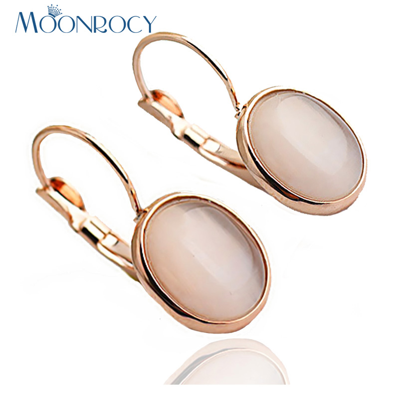 MOONROCY Gratis frakt Mote-smykker Rose Gold Color Trendy OL Crystal Opal Øredobber til kvinner Girls Drop Shipping Gift