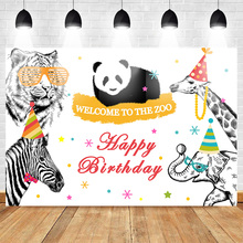 Mehofoto Zoo Theme Party Photo Background Happy Birthday Backdrop Banner  Animal Backgrounds for Studio Photocall