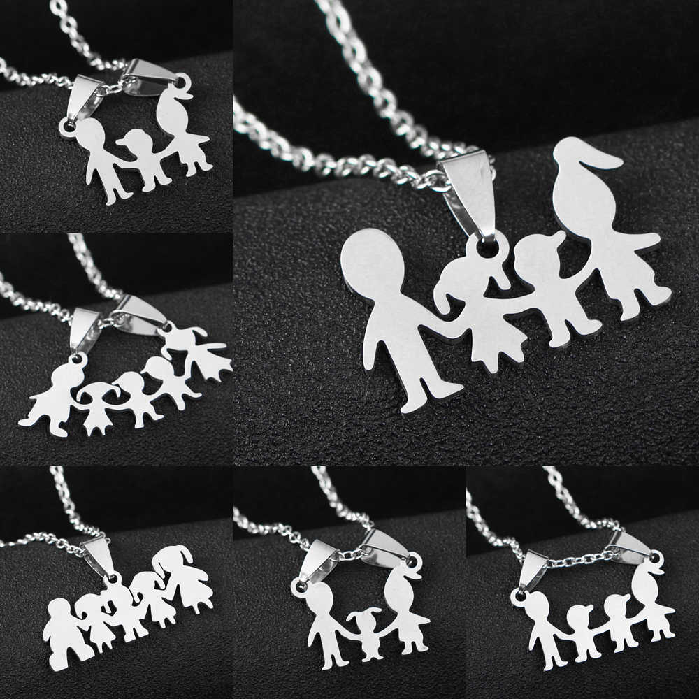 Stainless Steel Pendant Family Necklace Charm Parents And Children Gifts For Mothers Fathers Presents Boys Girls Kids Mom Dad