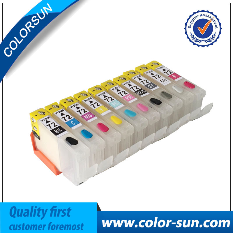 10 Colors for Canon PGI 72 Refillable Ink Cartridge for Canon Pro 10 Pro10 Printer With Chips 8 colors for canon cli 42 refillable ink cartridge for canon pro 100 printer with chips