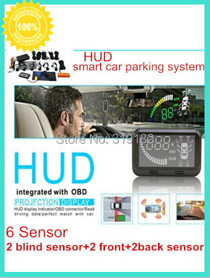 5.5 inch 12V car HUD smart blind detection system front glass head up display w 2 back sensors ,2 blind sensors +2 front sensors rastp m9 hud 5 5 inch head up windscreen projector obd2 euobd car driving data display speed rpm fuel consumption rs hud011