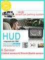 5.5 inch 12V car HUD smart blind detection system front glass head up display w 2 back sensors ,2 blind sensors +2 front sensors