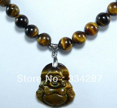 Free Shipping 8mm Natural Tigers Eye Stone Necklace Buddha Lucky Pendant