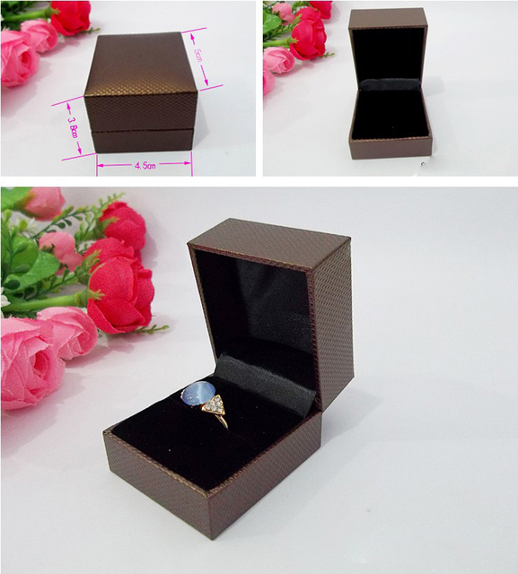 Wholesale 12PCSLot Brown Jewelry Gift Boxes Wedding Ring Storage