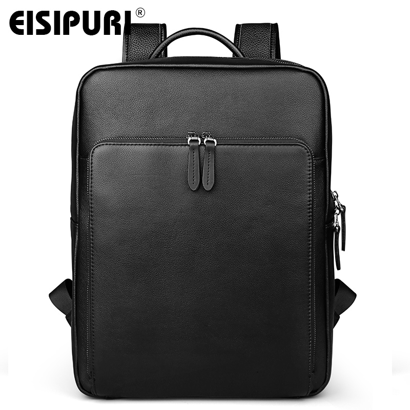 EISIPURI New Fashion Men's Leather Backpack High Quality Genuine Leather School Bags for Teenagers Large Travel Laptop Backpacks women backpack genuine leather travel bag for teenagers girl s school bags high quality vintage embossing backpacks mochilas