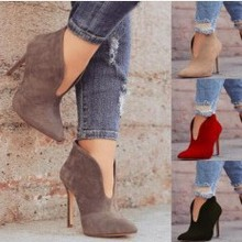 Women Nubuck Pointed Toe Sexy High Heels Ankle Boots Shoes L