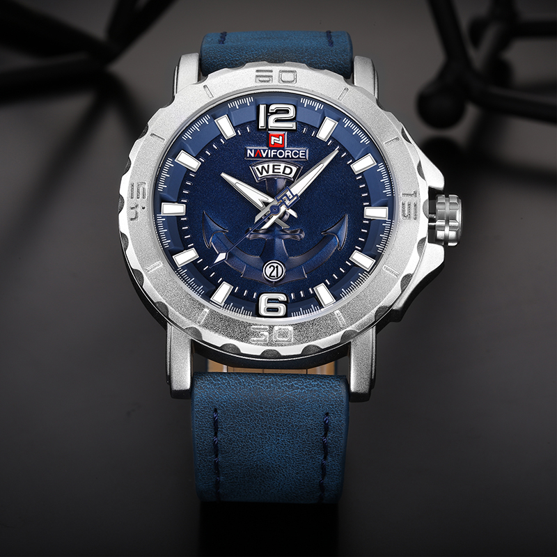 2019 New Top Luxury Brand Naviforce Leather Strap Sports Watches Men Quartz Clock Sports Military Wrist Watch Relogio masculino