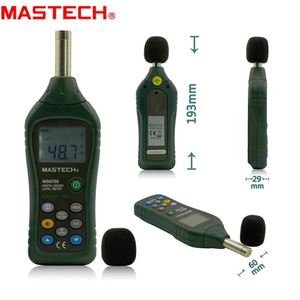 MASTECH MS6708 appareil de contrôle de décibels de sonomètre numérique industriel tenu dans la main 30 ~ 130dB rétro-éclairage d'affichage de barre analogique