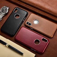 Business ICARER For iPhone Xs Case Retro Genuine Real Leather Hollow Logo Leather Cover Back Case For iPhone Xs Max Leather Case