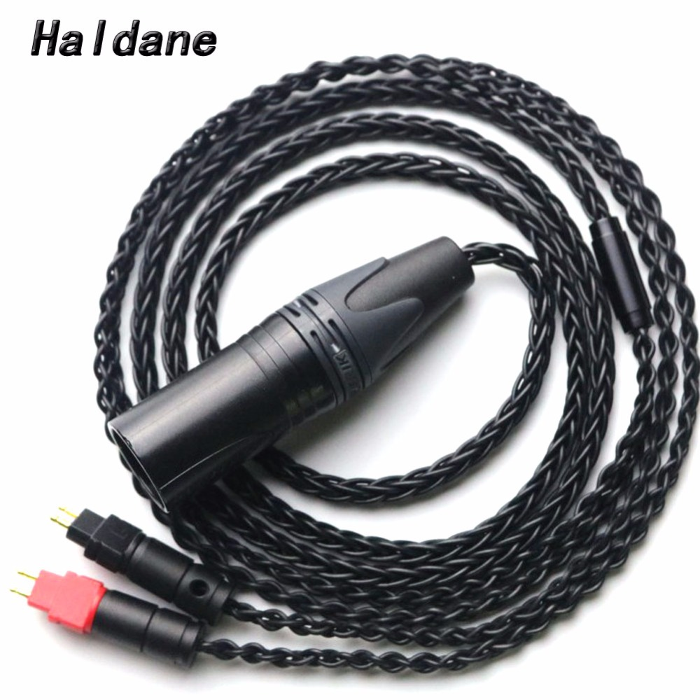 Free Shipping Haldane 8 cores 4 pin XLR Male Balanced Headphone Upgrade Cable for HD600 HD650