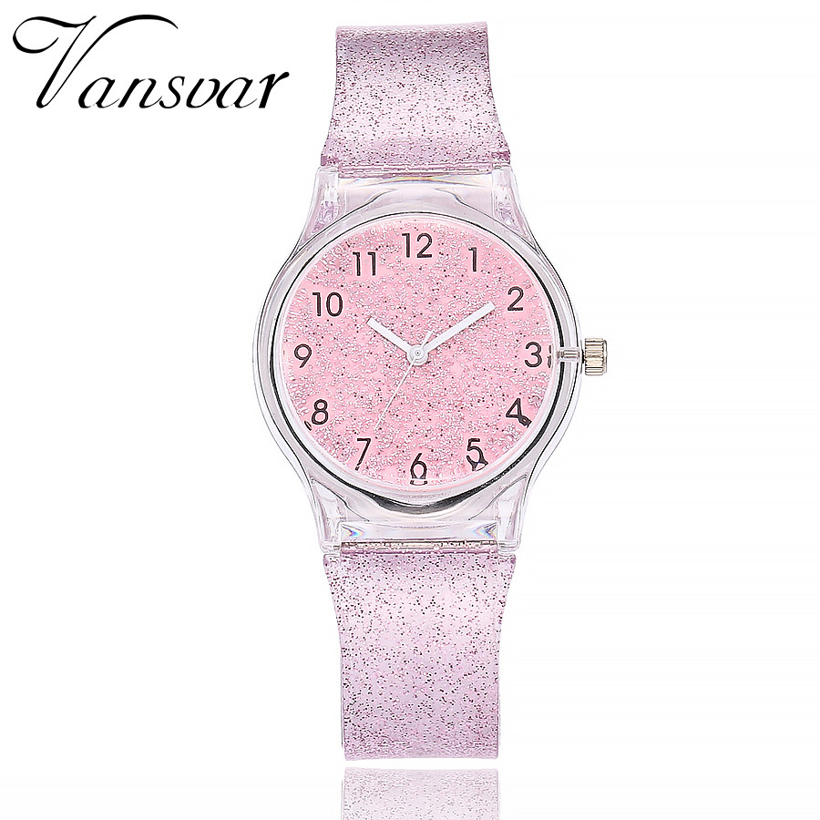 Vansvar Fashion Jelly Silicone Transparent Plastic Quartz Watch Women Lovely Cute Unique Dress Rose Watch Gift Relogio Feminino