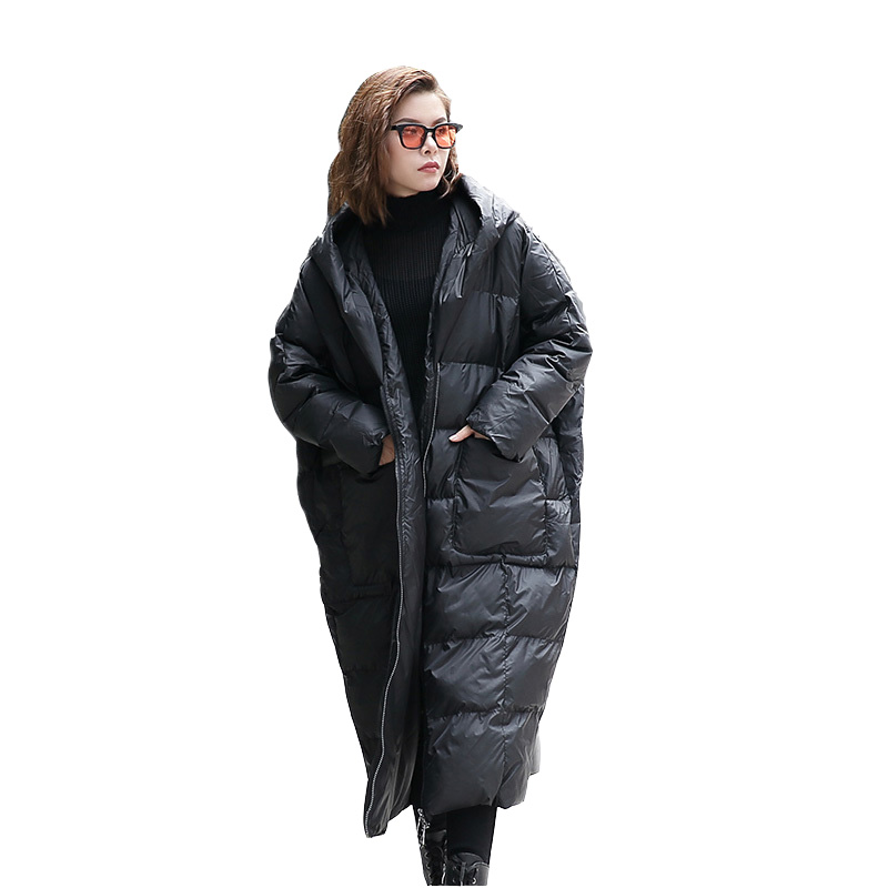 2017 Autumn Winter Hooded Long Sleeve Solid Color Black Cotton-padded Loose Big Size Jacke Women Fashion Tide Long Parkas Coats цена и фото