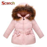 New Fashion Baby Girls Jackets Bow Tie Autumn Winter Jacket Kids Warm Hooded Children Outerwear Coat
