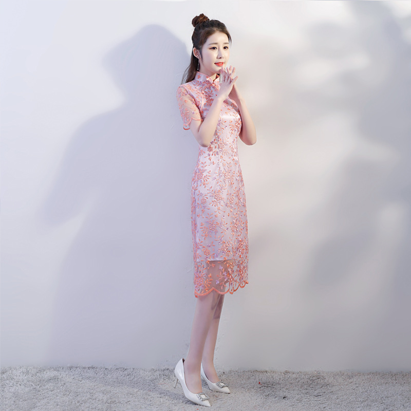 Chinese Traditional Middle Cheongsam Women 39 s Lace Dress Size S to 2XL in Cheongsams from Novelty amp Special Use