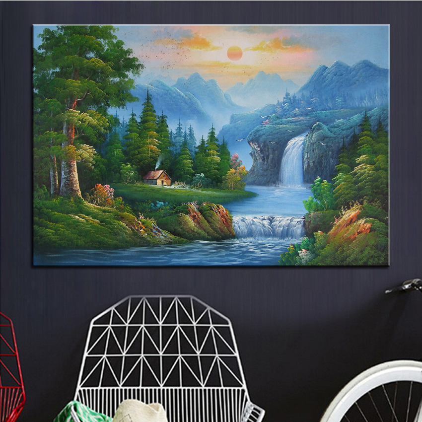 Extra Large Wall Painting Of Rising Sun Home Office