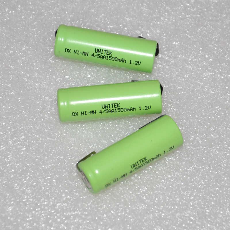 UNITEK 1500 В в 4/5AA аккумуляторная батарея 4/5 мАч 14430 AA Ni-MH nimh электробритва ячейка с сваркой tab контакты для 1,2 зубная щетка