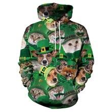 Irish St. Patrick Shamrock 3D Printed Clothing Cute Cats Hoodie Men/women Pullover Streetwear Sweatshirts Boy Jackets Tracksuits