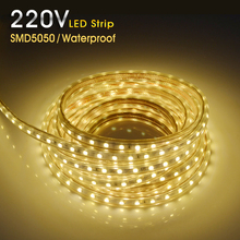 220V LED Strip Waterproof SMD5050 LED Light Flexible Lights LED Strips Tape Ribbon 1/2/3/4/5/10m 60LEDs/m Home Decorate Lighting