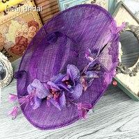 Floral Tulle Linen Purple Wedding Bridal Hat Fine Garden Bridal Photo Hair Accessory Bride Mother Special