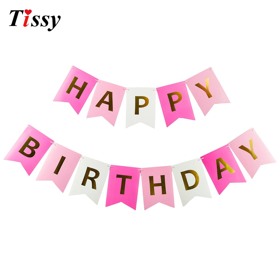 1Set Happy Birthday Paper Flags Garland Floral Bunting Banners Letter Garlands Baby Kids Birthday Party Decorations Supplies