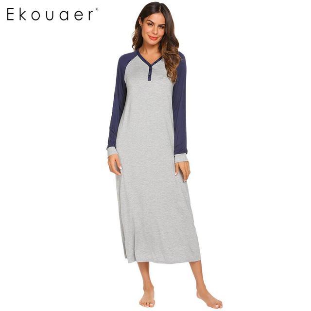 Ekouaer Lange Nacht Kleid Chemise Nachthemd Nachtwäsche Frauen Casual Langarm Patchwork V ausschnitt Sleep Nachtwäsche Plus Größe