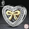 VOROCO 925 Calado Encantos Del Corazón con Bowknot Fit Pandora Original Pulsera DIY Accesorios de La Joyería S300