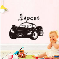 Lovely Cartoon Toy Car Personalized Name Vinyl Wall Sticker Kids Bedroom Decal Boys Birthday Party Decoration